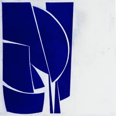 """Covers 1 Ultramarine"", abstract aquatint print, mid-century modern, deep blue."