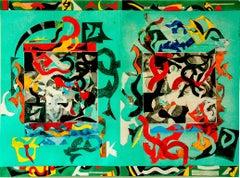 """Fresh Wind"", large abstract geometric monoprint, sea green, red orange, blue."