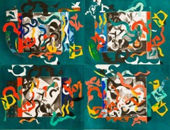 FIrm and Prudent, large abstract geometric monoprint, green, red, black, orange.