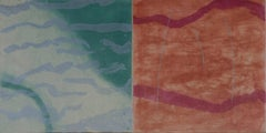 """Radiation Swim State 1"", abstract Japanese landscape monoprint, silver, green."