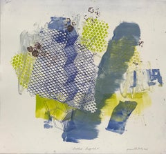 """""""Shattered Scaffold Five"""", gestural abstract  monoprint, blue, yellow green."""