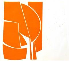 """Covers One Orange"", abstract aquatint print, Mid-century Modern, yellow orange"