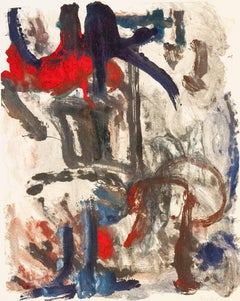 Landscape #22, gestural, abstract, painterly monoprint, red, grey, blue, umber.