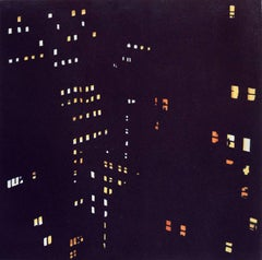 """New Amsterdam Three"", nocturnal urban landscape aquatint print, blue black."