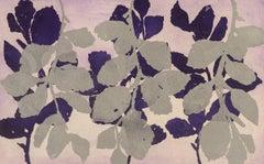 """""""Golden Treasures Seven """", aquatint plant-study print, deep purple, silver."""