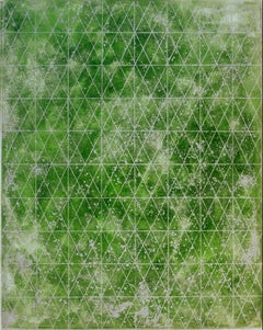 """""""Intersections/Cosmos Five"""", abstract geometric print, greens, metallic silver."""