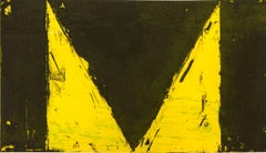 """""""Delta Series"""", abstract geometric etching and aquatint print, yellow, black."""