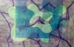 """""""Green Bird"""", abstract monoprint, biomorphic forms in green, blue, and violet."""