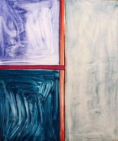 """Sunnyside Yards Ten"", painterly abstract print, thalo, ultramarine blue, gray."