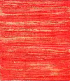 Bound Brook One, painterly abstract aquatint monoprint, red, orange, vermillion.