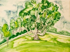 """Hyde Park,One"", painterly abstract tree print, greens, yellows, blue, cream."