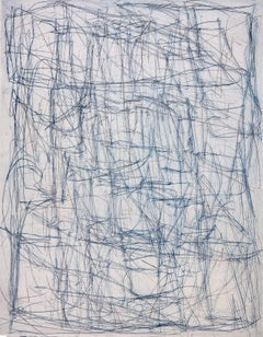 """""""What Is Was (Long Exposure)"""", abstract linear etching monoprint, blues, greys."""