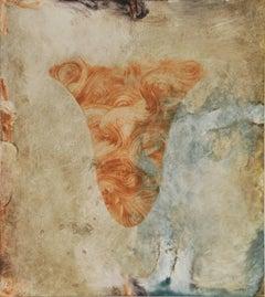 Siren VII, Italianate painterly monoprint in umber, sanguine, blue, grey.