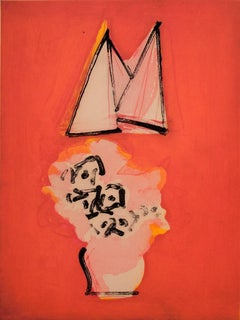 """""""Flowers and Sails (red/yellow)"""", abstract seascape print, red, pink, yellow."""