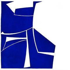 """Covers Two Cobalt"", deep blue abstract aquatint print, Mid-century Modern."
