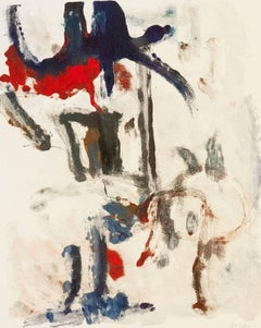 """""""Landscape #23"""",gestural, abstract, painterly monoprint red, grey, blue, ochre."""