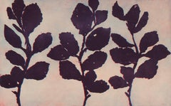 Golden Treasures 12, abstract aquatint plant-study monoprint, blue, deep violet.