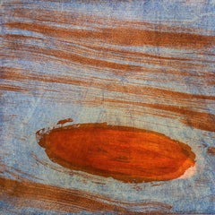 """Shandaken Nine"",Catskill mountain abstract landscape print, orange, blue."