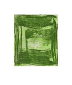 """Broad Strokes Two"", painterly abstract monoprint, layered light and dark green."