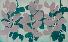 """Golden Treasures Eight"", abstract aquatint plant-study print, green, silver."
