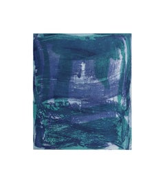 """Serpentine 12"", gestural abstract monoprint, layered blue violet, green."