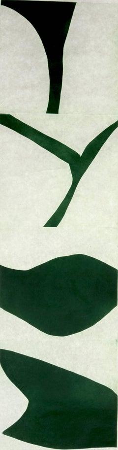 """Terre Verte Two"", graphic modern scroll abstract aquatint print, deep green."