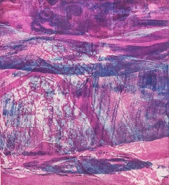 """Shandaken Two"", abstract landscape print, magenta and blue ,Catskill Mountains"