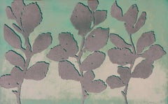 Golden Treasures Nine, abstract aquatint plant-study print, deep green, silver.