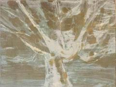 Imagined Possibilites 12, painterly monoprint of a tree, silver, grey and taupe