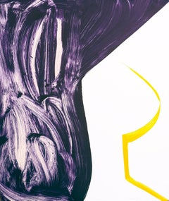 """Sunnyside Yards 26"",  large abstract gestural monoprint, deep violet, yellow."