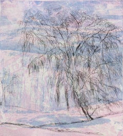 """Shandaken One""  abstract landscape tree etching print, blue, pink, black."