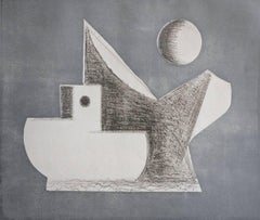 """Silver"", abstract seascape etching and aquatint print, Cape Cod, boats."