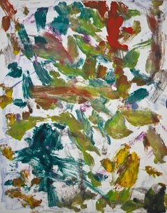 """Landscape Eight"", gestural abstract, painterly print red, green, blue, yellow."