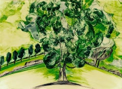 Hyde Park Five, abstract landscape tree study monoprint, yellows and greens.