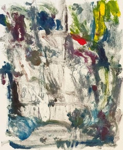 """Landscape #21"", abstract, painterly monoprint red, gray, blue, yellow, violet."
