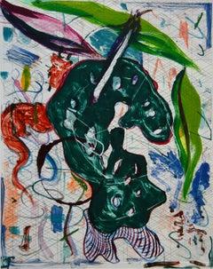 """Scholar Rocks 23"", abstract landscape monoprint, green, violet, red, blue."