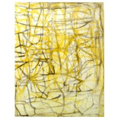 """""""September Two"""", painterly abstract aquatint and spitbite print, yellow, sepia"""