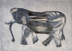 """African Elephant"", wildlife, safari, etching, aquatint print, grey blue, black."