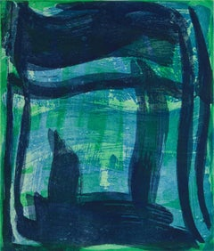 """Thick and Thin Five"", gestural abstract aquatint print, shades of blue, green."