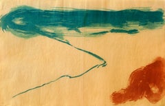"""""""View Mid Day"""", abstract Japanese landscape monoprint, turquoise, sanguine red."""