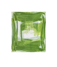 """Broad Strokes Four"", gestural abstract monoprint, pale gray, spring green."