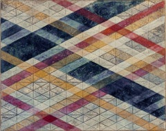 """""""Intersections/Skies 14"""", abstract geometric print, blue, violet, ochre, silver"""
