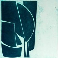 """Covers One Viridian"", abstract aquatint print, Mid-century Modern, deep green."