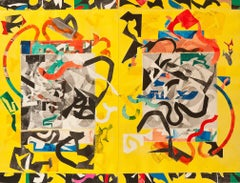 Laughing Guardedly, large abstract geometric print, yellow, red, green, black.