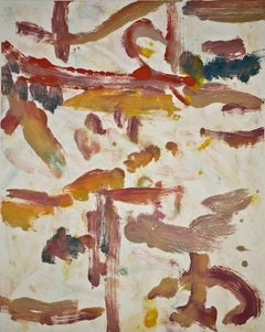 Landscape Seven, gestural, abstract, painterly print, red, blue, yellow, ochre.