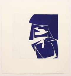Covers Three Ultramarine, abstract aquatint print, Mid-century Modern, deepblue