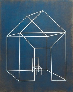 """Open House Three"", architectural etching, aquatint print, Prussian blue, gold."