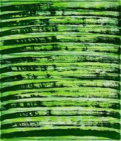 """October 26"", painterly abstract aquatint monoprint, yellow, green tones."