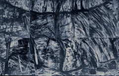 """""""Waterfall Suite/Blue"""",  etched monoprint of waterfall in dark blue and silver"""