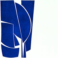 Covers One Cobalt, abstract aquatint print, mid-century modern influenced, blue.